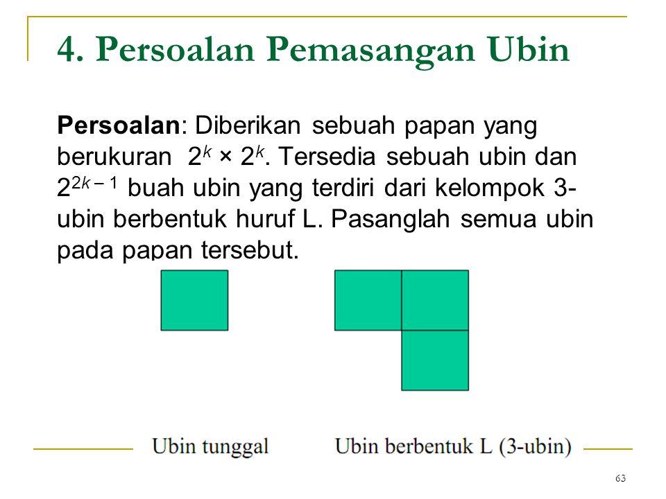 4.Persoalan Pemasangan Ubin Persoalan: Diberikan sebuah papan yang berukuran 2 k × 2 k.