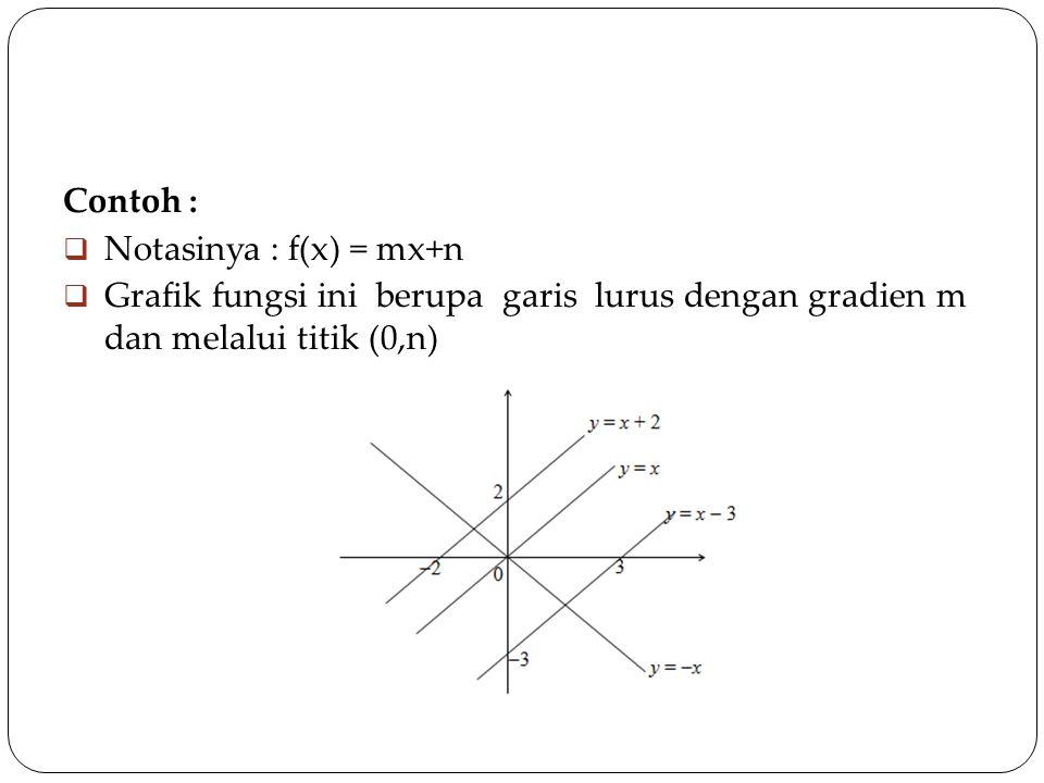 Contoh :  Notasinya : f(x) = mx+n  Grafik fungsi ini berupa garis lurus dengan gradien m dan melalui titik (0,n)