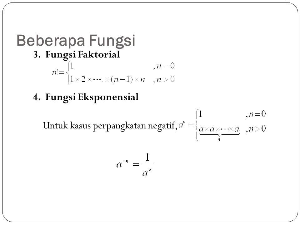 3. Fungsi Faktorial 4. Fungsi Eksponensial Untuk kasus perpangkatan negatif, Beberapa Fungsi