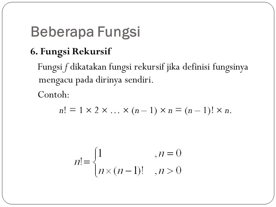 7.Fungsi linear Fungsi linear memiliki gambar grafik sebagai garis lurus.