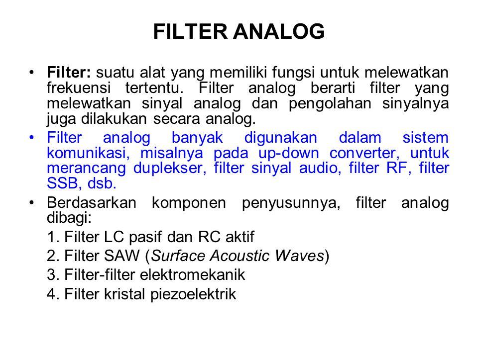 FILTER ANALOG Filter: suatu alat yang memiliki fungsi untuk melewatkan frekuensi tertentu. Filter analog berarti filter yang melewatkan sinyal analog