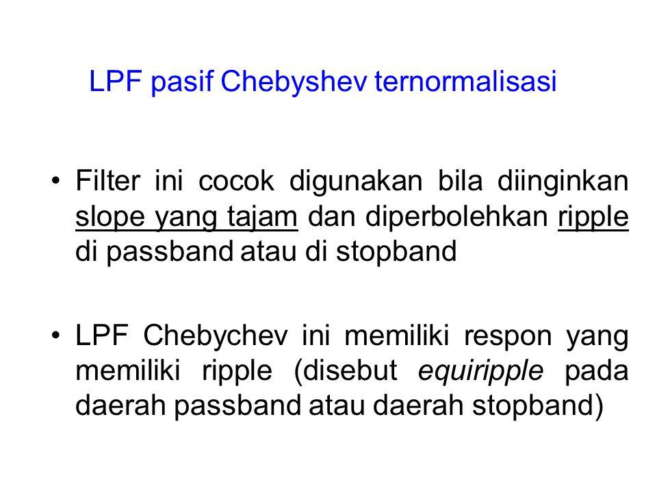 LPF pasif Chebyshev ternormalisasi Filter ini cocok digunakan bila diinginkan slope yang tajam dan diperbolehkan ripple di passband atau di stopband L