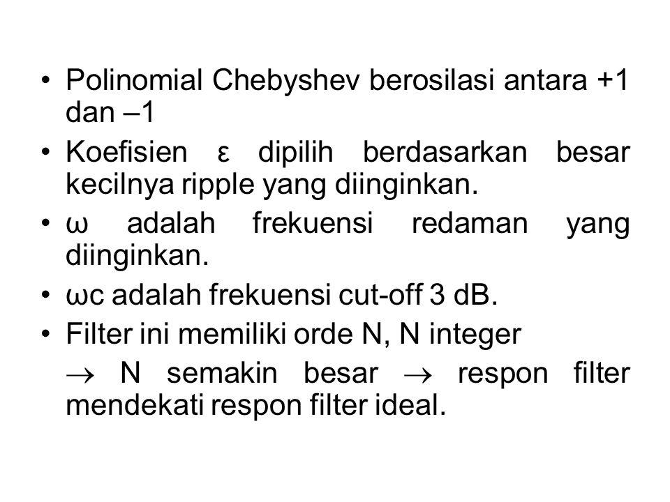 Polinomial Chebyshev berosilasi antara +1 dan –1 Koefisien ε dipilih berdasarkan besar kecilnya ripple yang diinginkan. ω adalah frekuensi redaman yan