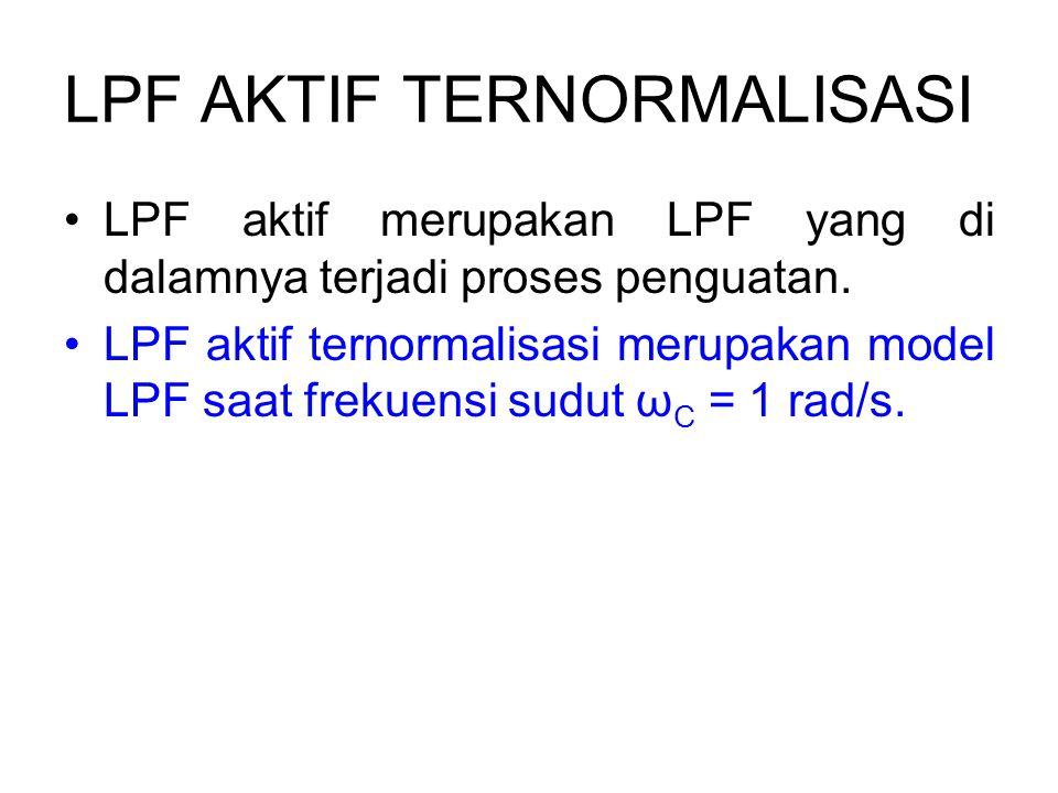 LPF AKTIF TERNORMALISASI LPF aktif merupakan LPF yang di dalamnya terjadi proses penguatan. LPF aktif ternormalisasi merupakan model LPF saat frekuens