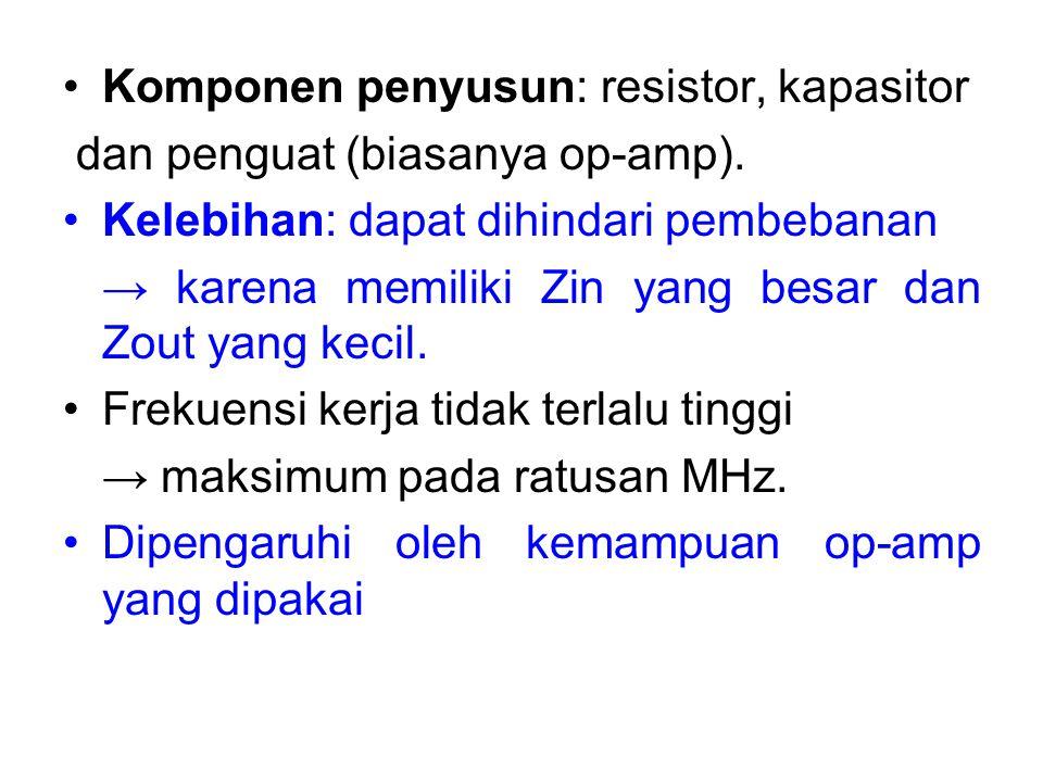 Komponen penyusun: resistor, kapasitor dan penguat (biasanya op-amp). Kelebihan: dapat dihindari pembebanan → karena memiliki Zin yang besar dan Zout