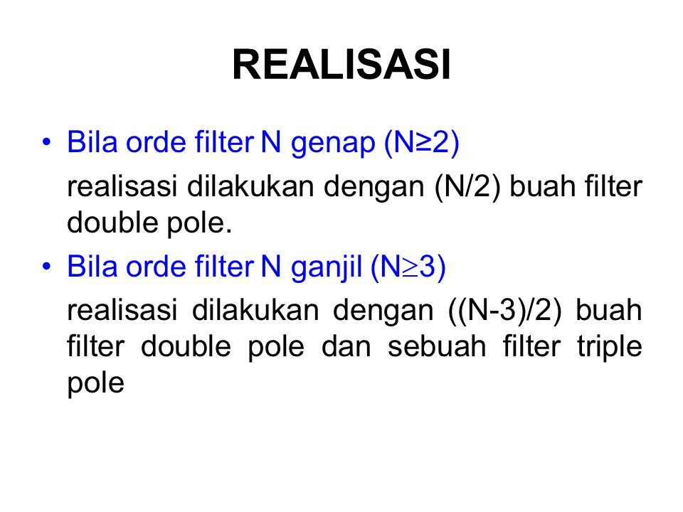 REALISASI Bila orde filter N genap (N≥2) realisasi dilakukan dengan (N/2) buah filter double pole. Bila orde filter N ganjil (N  3) realisasi dilakuk