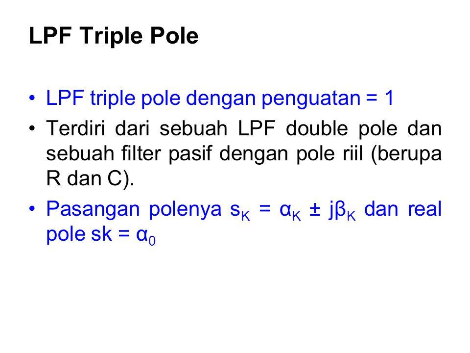 LPF Triple Pole LPF triple pole dengan penguatan = 1 Terdiri dari sebuah LPF double pole dan sebuah filter pasif dengan pole riil (berupa R dan C). Pa