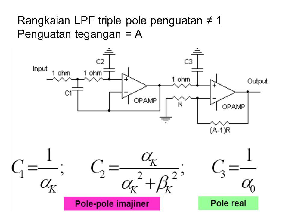 Rangkaian LPF triple pole penguatan ≠ 1 Penguatan tegangan = A