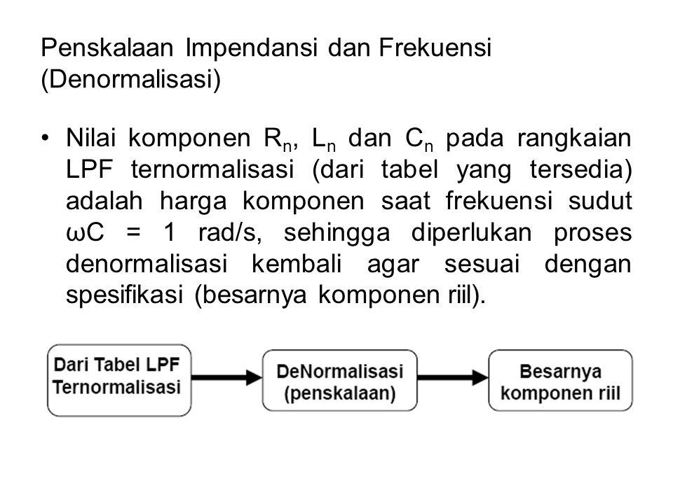 Penskalaan Impendansi dan Frekuensi (Denormalisasi) Nilai komponen R n, L n dan C n pada rangkaian LPF ternormalisasi (dari tabel yang tersedia) adala