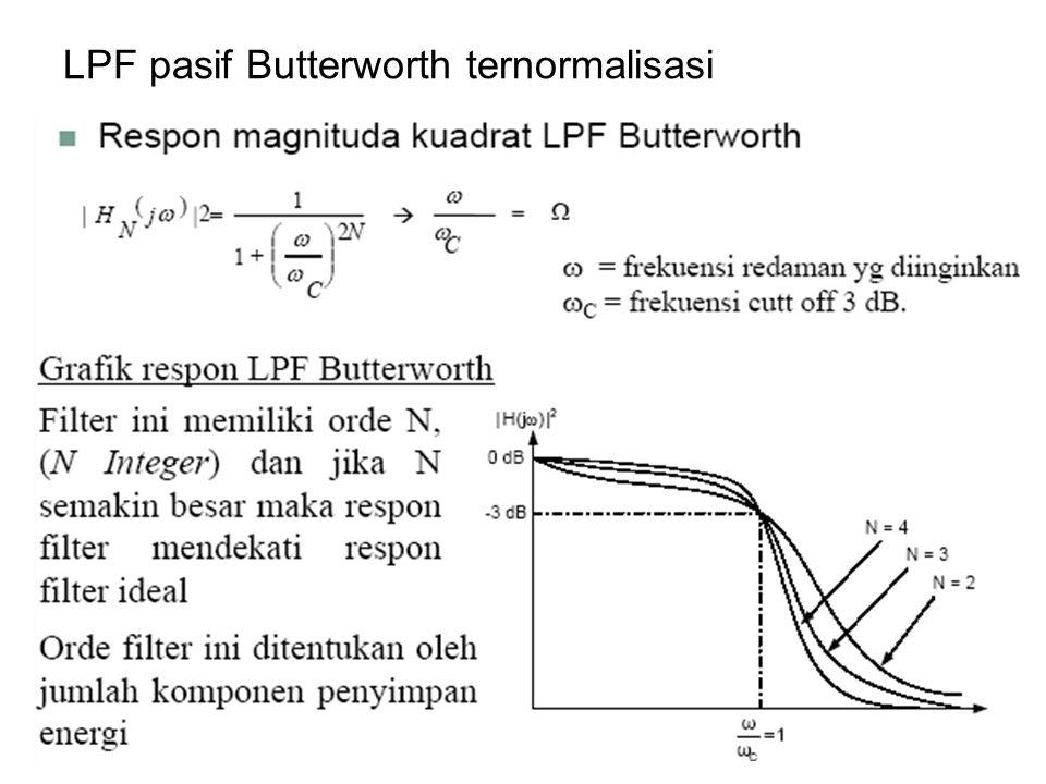 Penskalaan Impendansi dan Frekuensi (Denormalisasi) Nilai komponen R n, L n dan C n pada rangkaian LPF ternormalisasi (dari tabel yang tersedia) adalah harga komponen saat frekuensi sudut ωC = 1 rad/s, sehingga diperlukan proses denormalisasi kembali agar sesuai dengan spesifikasi (besarnya komponen riil).