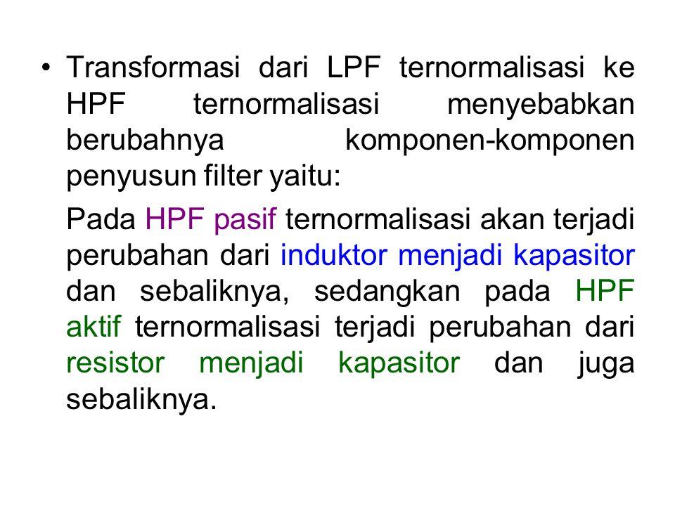 Transformasi dari LPF ternormalisasi ke HPF ternormalisasi menyebabkan berubahnya komponen-komponen penyusun filter yaitu: Pada HPF pasif ternormalisa