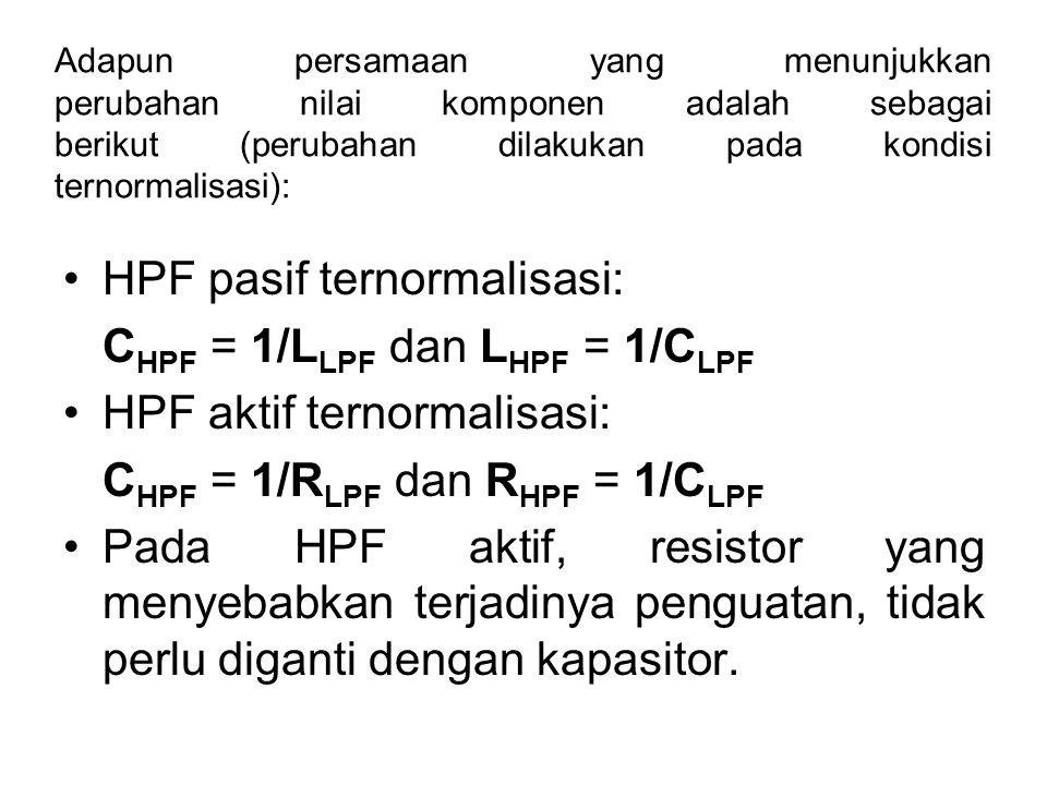 Adapun persamaan yang menunjukkan perubahan nilai komponen adalah sebagai berikut (perubahan dilakukan pada kondisi ternormalisasi): HPF pasif ternorm