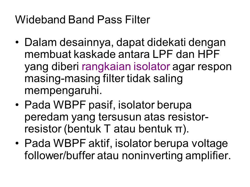 Wideband Band Pass Filter Dalam desainnya, dapat didekati dengan membuat kaskade antara LPF dan HPF yang diberi rangkaian isolator agar respon masing-
