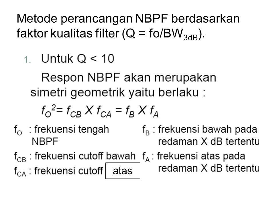 Metode perancangan NBPF berdasarkan faktor kualitas filter (Q = fo/BW 3dB ). atas