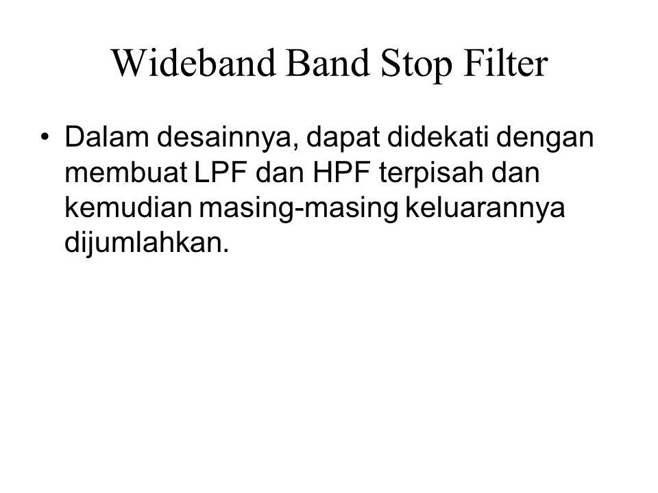 Wideband Band Stop Filter Dalam desainnya, dapat didekati dengan membuat LPF dan HPF terpisah dan kemudian masing-masing keluarannya dijumlahkan.
