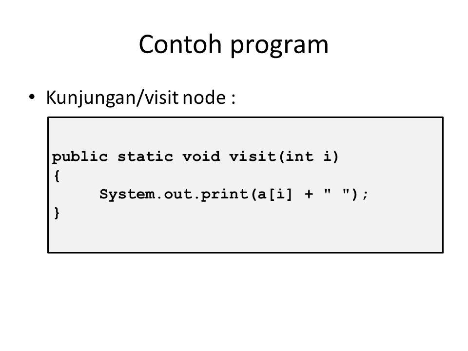 Kunjungan Node Digunakan untuk mengunjungi node. Proses yang dilakukan adalah mencetak node untuk menandai bahwa node tersebut sudah dikunjungi.
