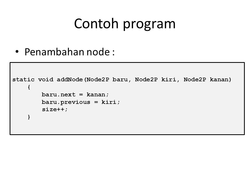 Penambahan Node Untuk melakukan penambahan node, terlebih dahulu harus di-create node baru. Node x = new Node(data); Ketika ada penambahan node terjad