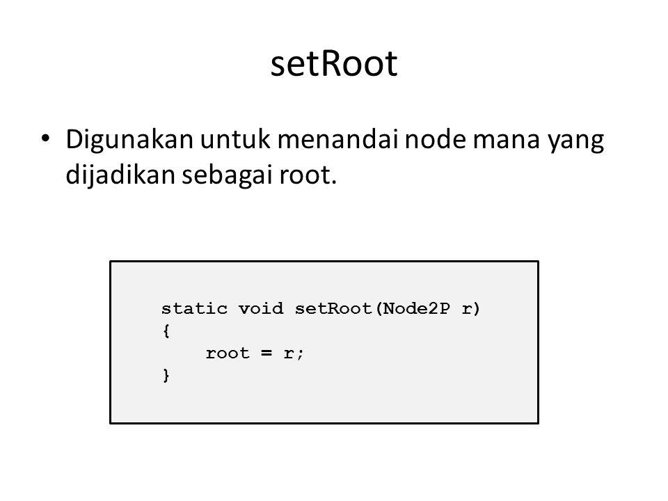 Contoh program Penambahan node : static void addNode(Node2P baru, Node2P kiri, Node2P kanan) { baru.next = kanan; baru.previous = kiri; size++; }
