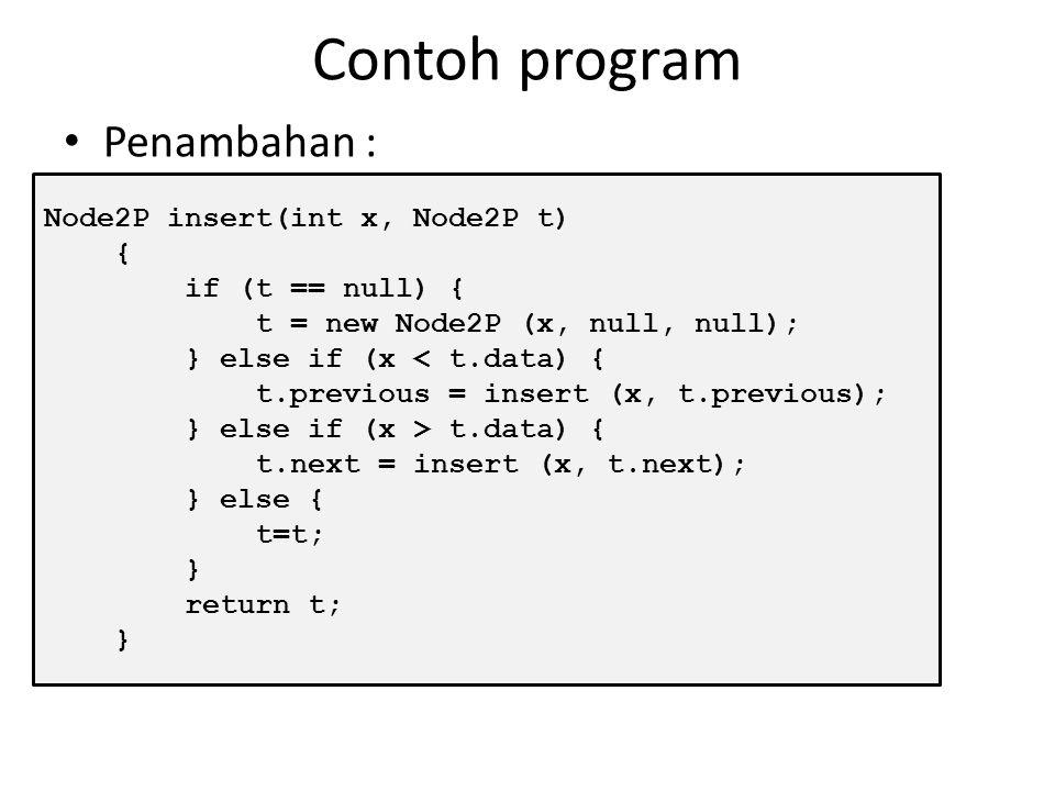 Penambahan BST Penambahan node pada BST harus mengikuti aturan minMax, dimana node yang bernilai lebih kecil dari root diletakkan pada subtree sebelah