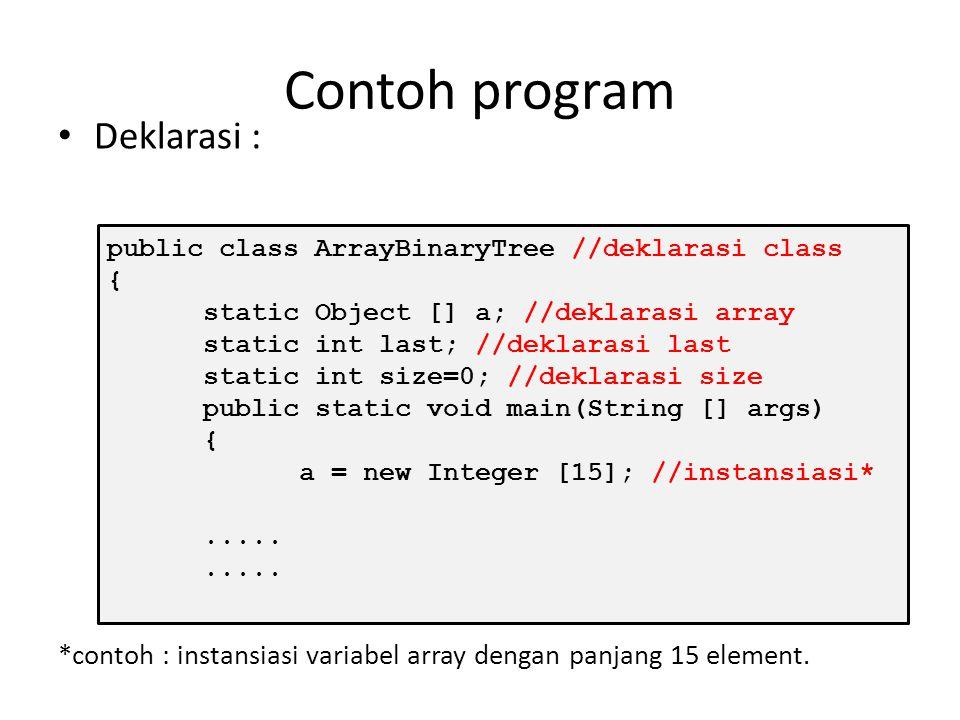 Deklarasi dengan Linked list Dengan menggunakan linked list, prosesnya meliputi : 1.Pembuatan class node (double linked list) 2.Pembuatan class LinkedBinaryTree 3.Deklarasi variabel root bertipe Node 4.Deklarasi variabel size