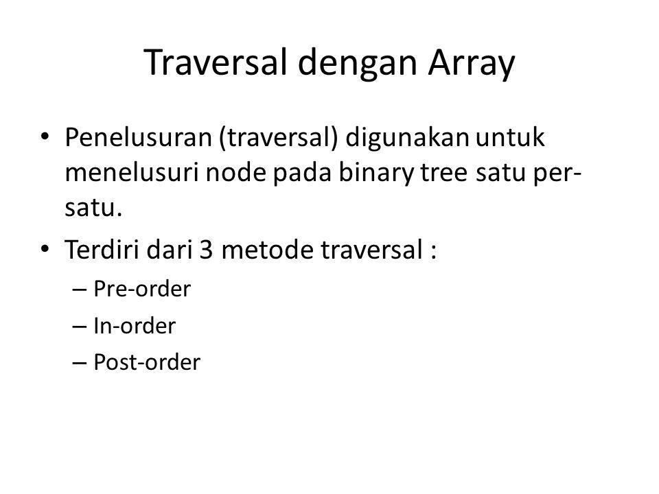 Traversal dengan Array Penelusuran (traversal) digunakan untuk menelusuri node pada binary tree satu per- satu.