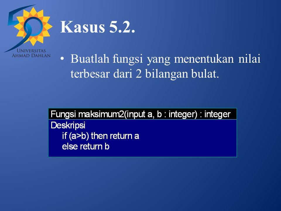 Kasus 5.2. Buatlah fungsi yang menentukan nilai terbesar dari 2 bilangan bulat.
