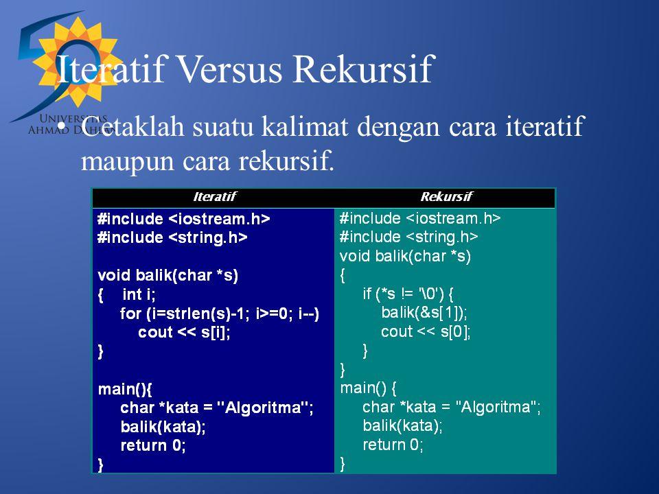 Iteratif Versus Rekursif Cetaklah suatu kalimat dengan cara iteratif maupun cara rekursif.