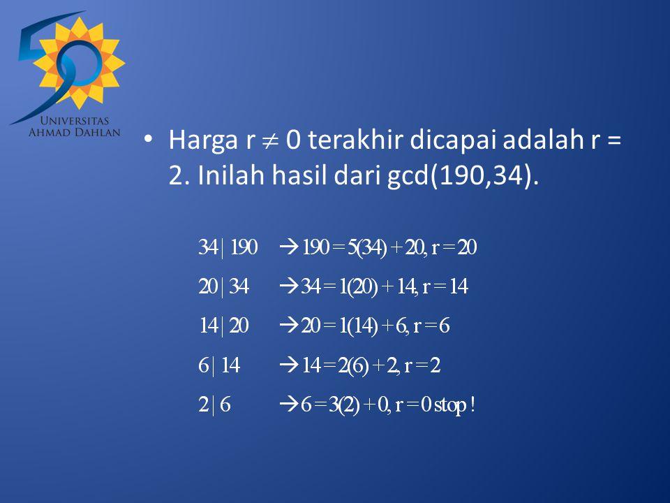 Harga r  0 terakhir dicapai adalah r = 2. Inilah hasil dari gcd(190,34).