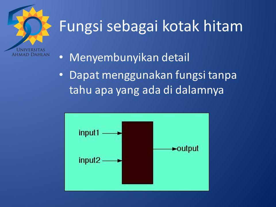 Fungsi sebagai kotak hitam Menyembunyikan detail Dapat menggunakan fungsi tanpa tahu apa yang ada di dalamnya