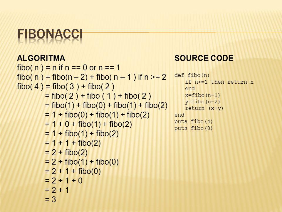ALGORITMA fibo( n ) = n if n == 0 or n == 1 fibo( n ) = fibo(n – 2) + fibo( n – 1 ) if n >= 2 fibo( 4 ) = fibo( 3 ) + fibo( 2 ) = fibo( 2 ) + fibo ( 1