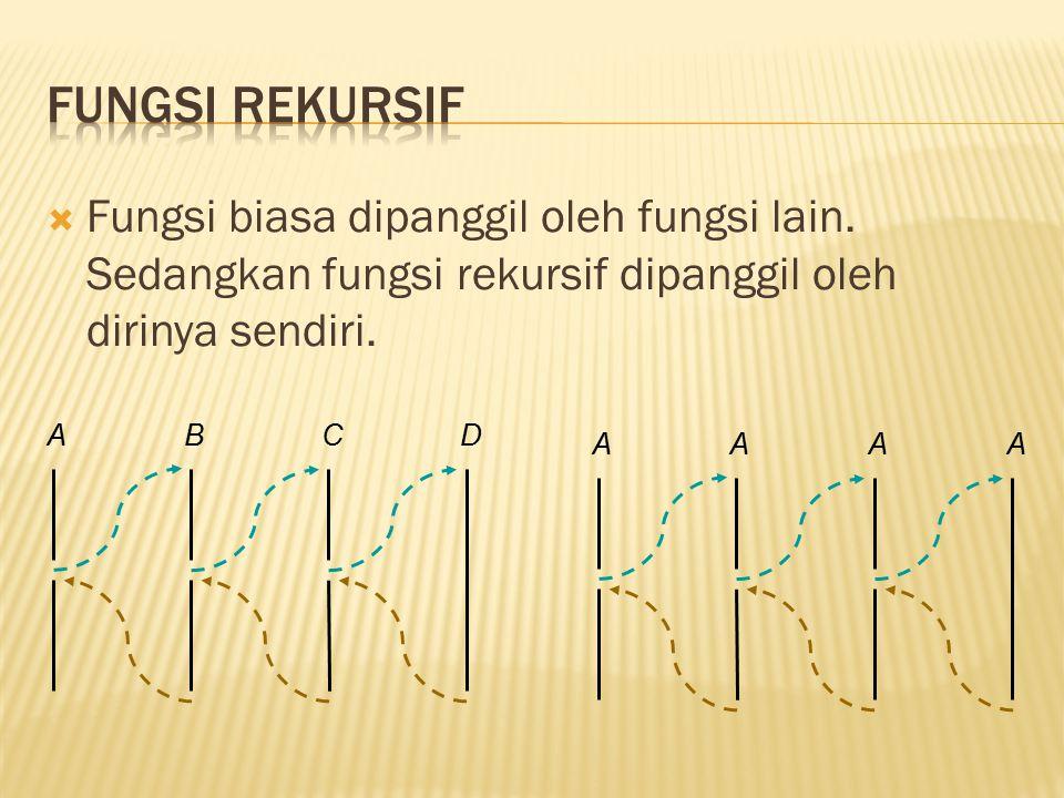  Fungsi biasa dipanggil oleh fungsi lain. Sedangkan fungsi rekursif dipanggil oleh dirinya sendiri. ABCD AAA A