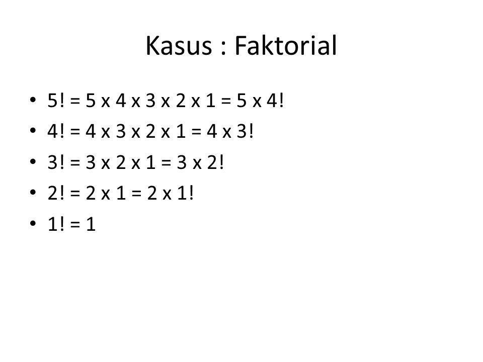 Kasus : Faktorial 5! = 5 x 4 x 3 x 2 x 1 = 5 x 4! 4! = 4 x 3 x 2 x 1 = 4 x 3! 3! = 3 x 2 x 1 = 3 x 2! 2! = 2 x 1 = 2 x 1! 1! = 1