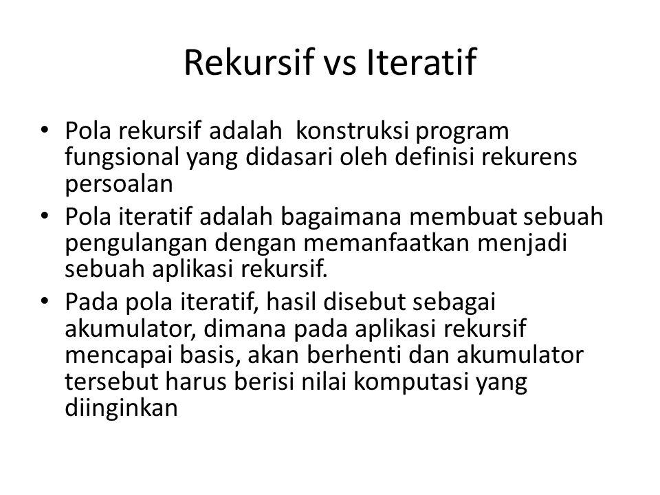 Rekursif vs Iteratif Pola rekursif adalah konstruksi program fungsional yang didasari oleh definisi rekurens persoalan Pola iteratif adalah bagaimana membuat sebuah pengulangan dengan memanfaatkan menjadi sebuah aplikasi rekursif.