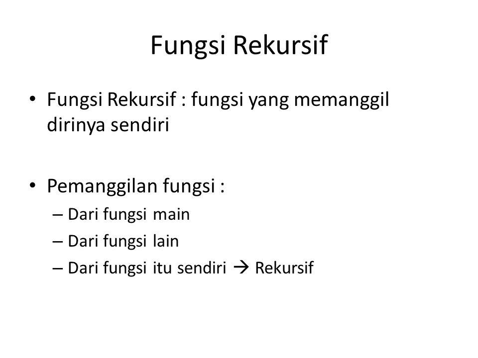 Fungsi Rekursif Fungsi Rekursif : fungsi yang memanggil dirinya sendiri Pemanggilan fungsi : – Dari fungsi main – Dari fungsi lain – Dari fungsi itu s