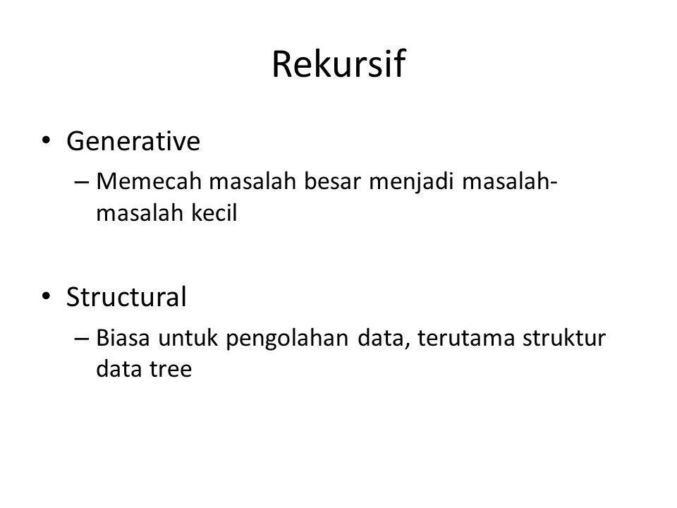 Rekursif Generative – Memecah masalah besar menjadi masalah- masalah kecil Structural – Biasa untuk pengolahan data, terutama struktur data tree
