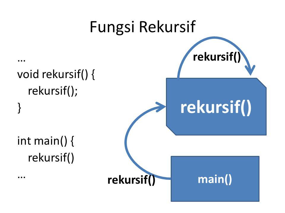Fungsi Rekursif … void rekursif() { rekursif(); } int main() { rekursif() … main() rekursif()