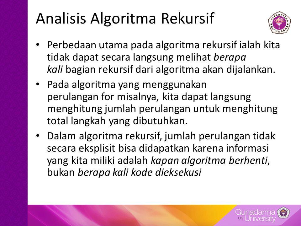 Analisis Algoritma Rekursif Perbedaan utama pada algoritma rekursif ialah kita tidak dapat secara langsung melihat berapa kali bagian rekursif dari al