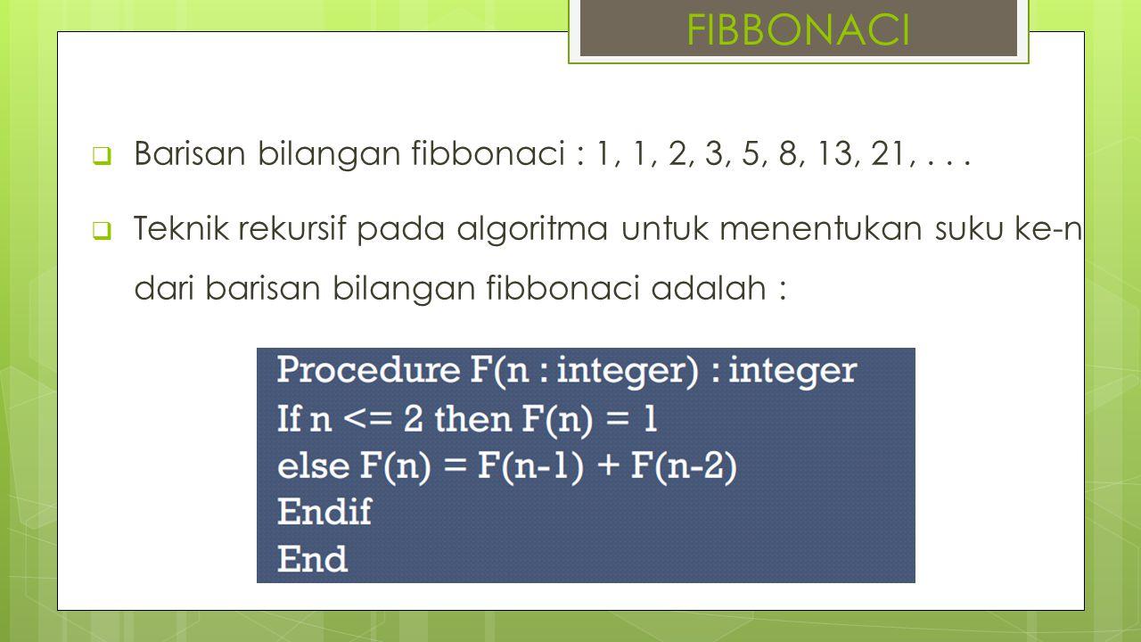  Barisan bilangan fibbonaci : 1, 1, 2, 3, 5, 8, 13, 21,...