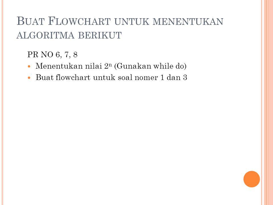 B UAT F LOWCHART UNTUK MENENTUKAN ALGORITMA BERIKUT PR NO 6, 7, 8 Menentukan nilai 2 n (Gunakan while do) Buat flowchart untuk soal nomer 1 dan 3