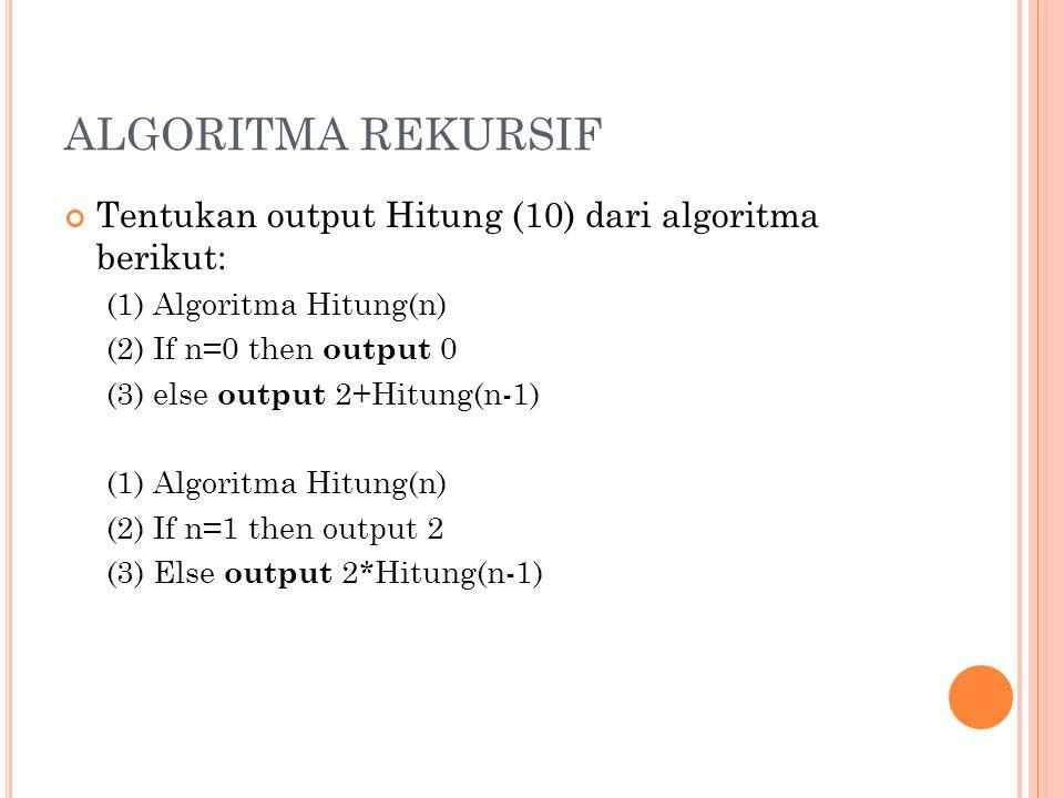 ALGORITMA REKURSIF Tentukan output Hitung (10) dari algoritma berikut: (1) Algoritma Hitung(n) (2) If n=0 then output 0 (3) else output 2+Hitung(n-1)