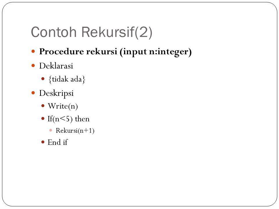 Contoh Rekursif(2) Procedure rekursi (input n:integer) Deklarasi {tidak ada} Deskripsi Write(n) If(n<5) then Rekursi(n+1) End if
