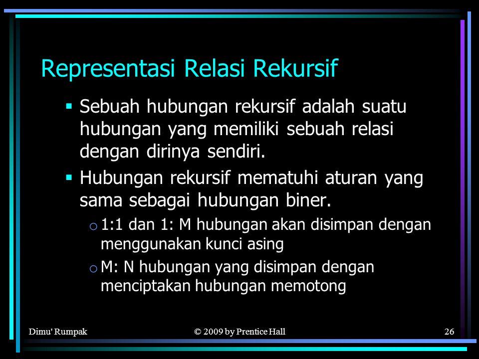 © 2009 by Prentice Hall26 Representasi Relasi Rekursif  Sebuah hubungan rekursif adalah suatu hubungan yang memiliki sebuah relasi dengan dirinya sendiri.