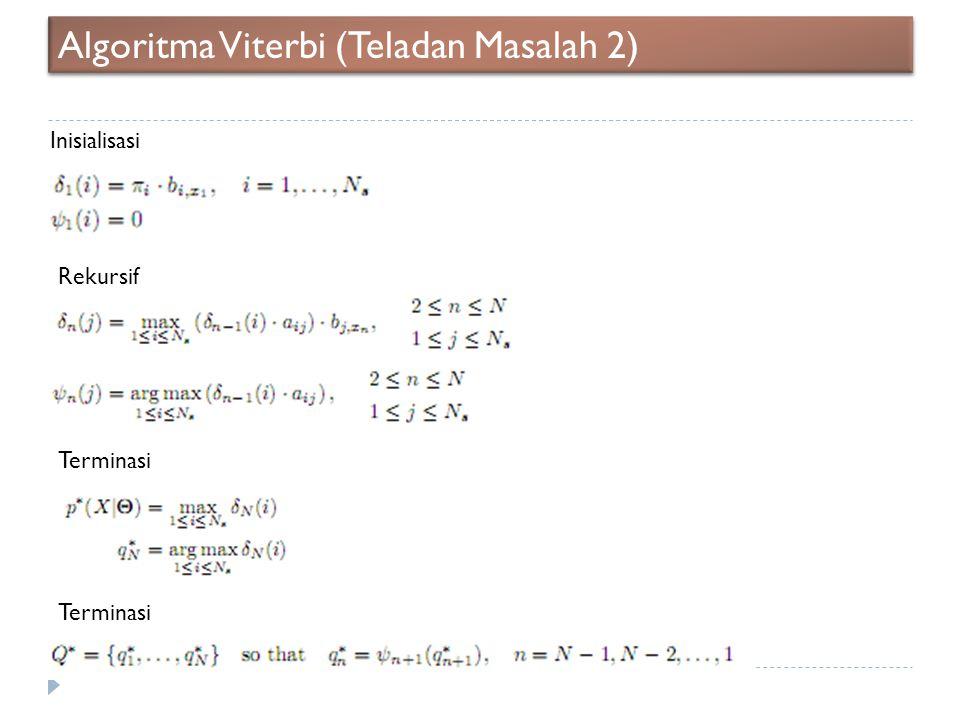 Algoritma Viterbi (Teladan Masalah 2) Inisialisasi Rekursif Terminasi