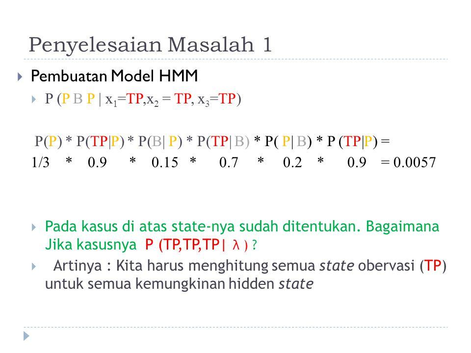 Penyelesaian Masalah 1  Pembuatan Model HMM  P (P B P | x 1 =TP,x 2 = TP, x 3 =TP) P(P) * P(TP|P) * P(B| P) * P(TP| B) * P( P| B) * P (TP|P) = 1/3 * 0.9 * 0.15 * 0.7 * 0.2 * 0.9 = 0.0057  Pada kasus di atas state-nya sudah ditentukan.