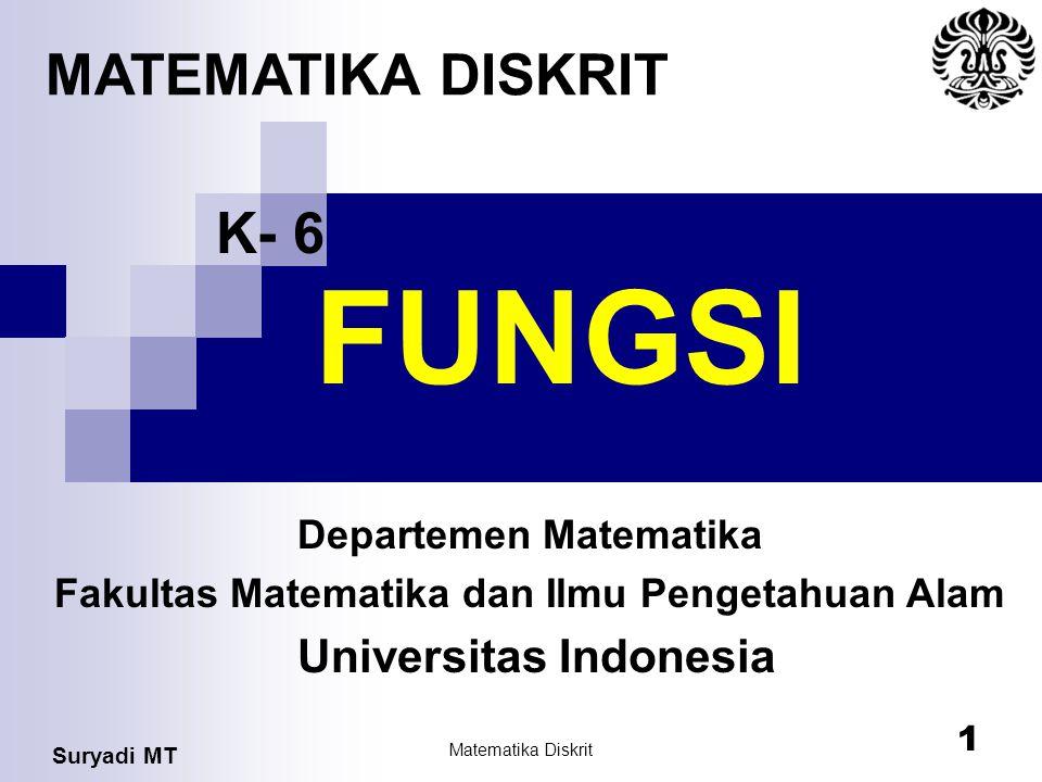 Suryadi MT Matematika Diskrit 1 FUNGSI Departemen Matematika Fakultas Matematika dan Ilmu Pengetahuan Alam Universitas Indonesia MATEMATIKA DISKRIT K-