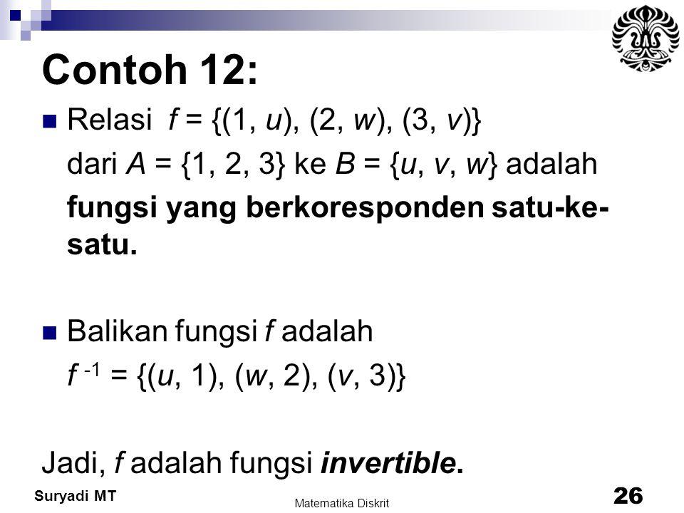 Suryadi MT Contoh 12: Relasi f = {(1, u), (2, w), (3, v)} dari A = {1, 2, 3} ke B = {u, v, w} adalah fungsi yang berkoresponden satu-ke- satu. Balikan