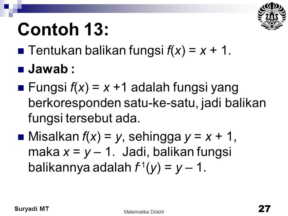 Suryadi MT Contoh 13: Tentukan balikan fungsi f(x) = x + 1. Jawab : Fungsi f(x) = x +1 adalah fungsi yang berkoresponden satu-ke-satu, jadi balikan fu