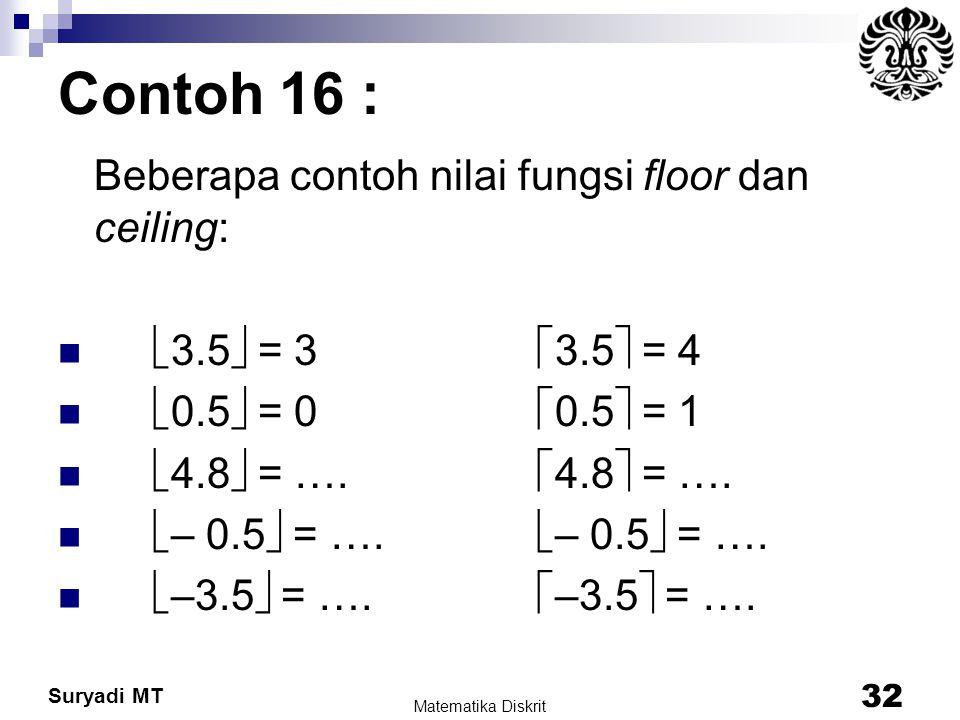 Suryadi MT Contoh 16 : Beberapa contoh nilai fungsi floor dan ceiling:  3.5  = 3  3.5  = 4  0.5  = 0  0.5  = 1  4.8  = ….  4.8  = ….  – 0