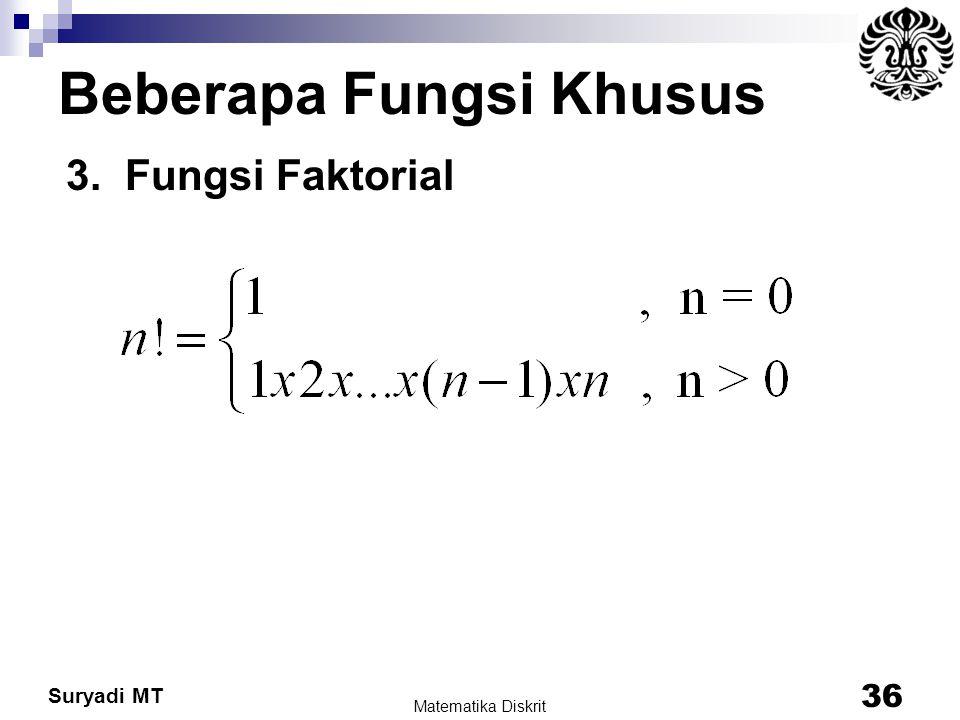 Suryadi MT Beberapa Fungsi Khusus 3. Fungsi Faktorial Matematika Diskrit 36