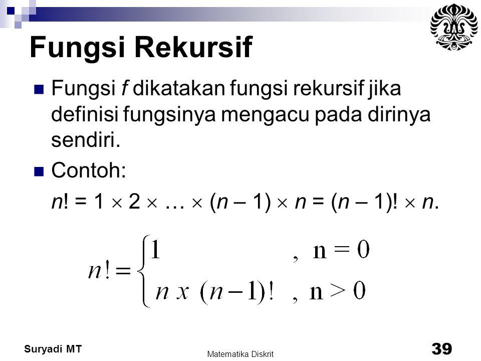 Suryadi MT Fungsi Rekursif Fungsi f dikatakan fungsi rekursif jika definisi fungsinya mengacu pada dirinya sendiri. Contoh: n! = 1  2  …  (n – 1) 